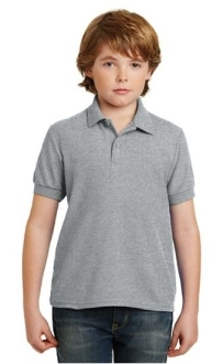 Youth Short Sleeve Polo - Heather Grey